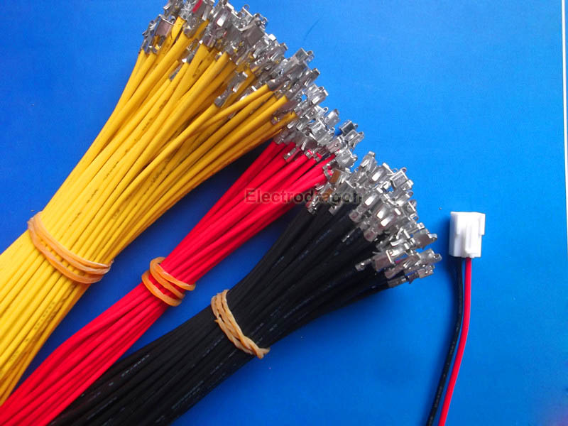 100PCs Connecting Cable w/crimp, Bare Connector [JST Type ...